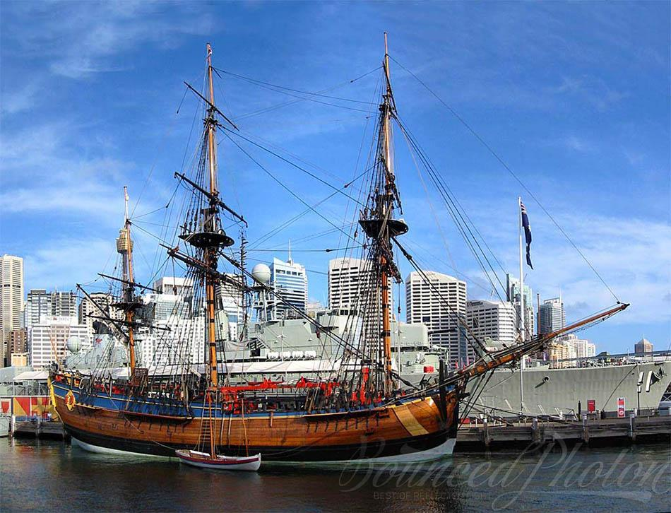 A 3-shot panorama showing HM Bark Endeavour Replica at the Australian National Maritime Museum