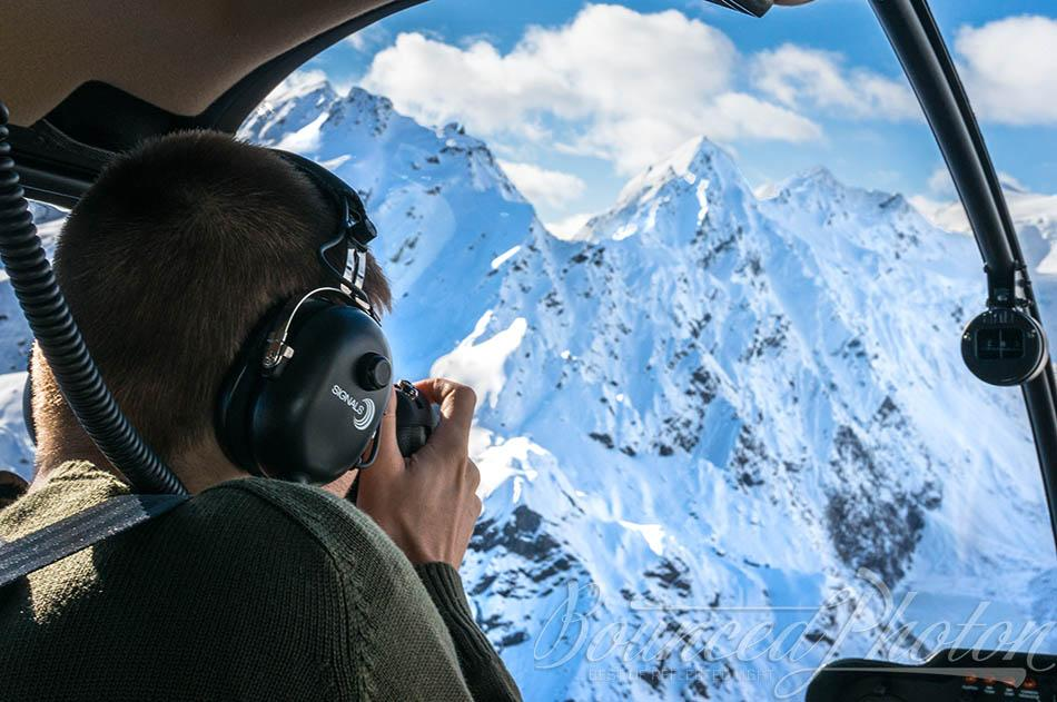 Behind the scenes view on the helicopter flight over the Whataroa mountains in New Zealand.