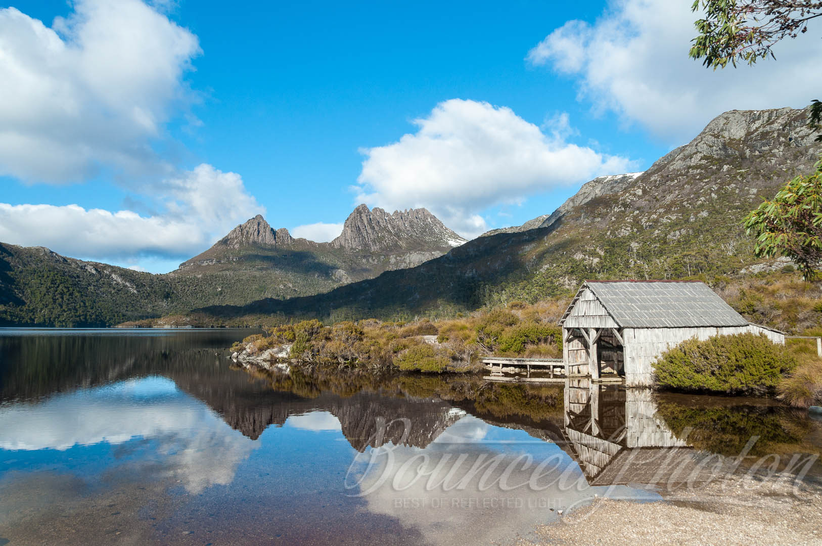 Historic Boatshed at the Dove Lake with Cradle Mountain on the background
