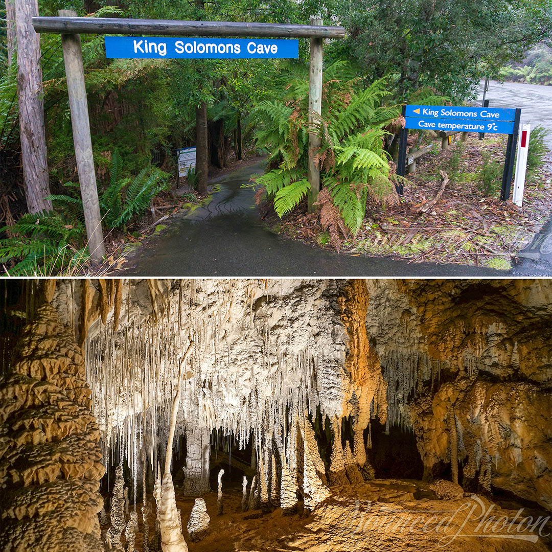 Cave entry through the thick rainforest and some of the cave treasures below