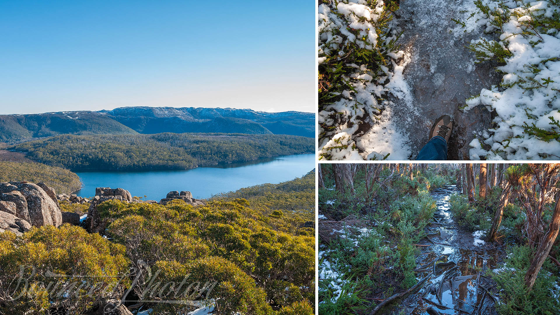 Counterclockwise from the left: view off Seagers Lookout, muddy track up the hill, frozen track upper in the mountains