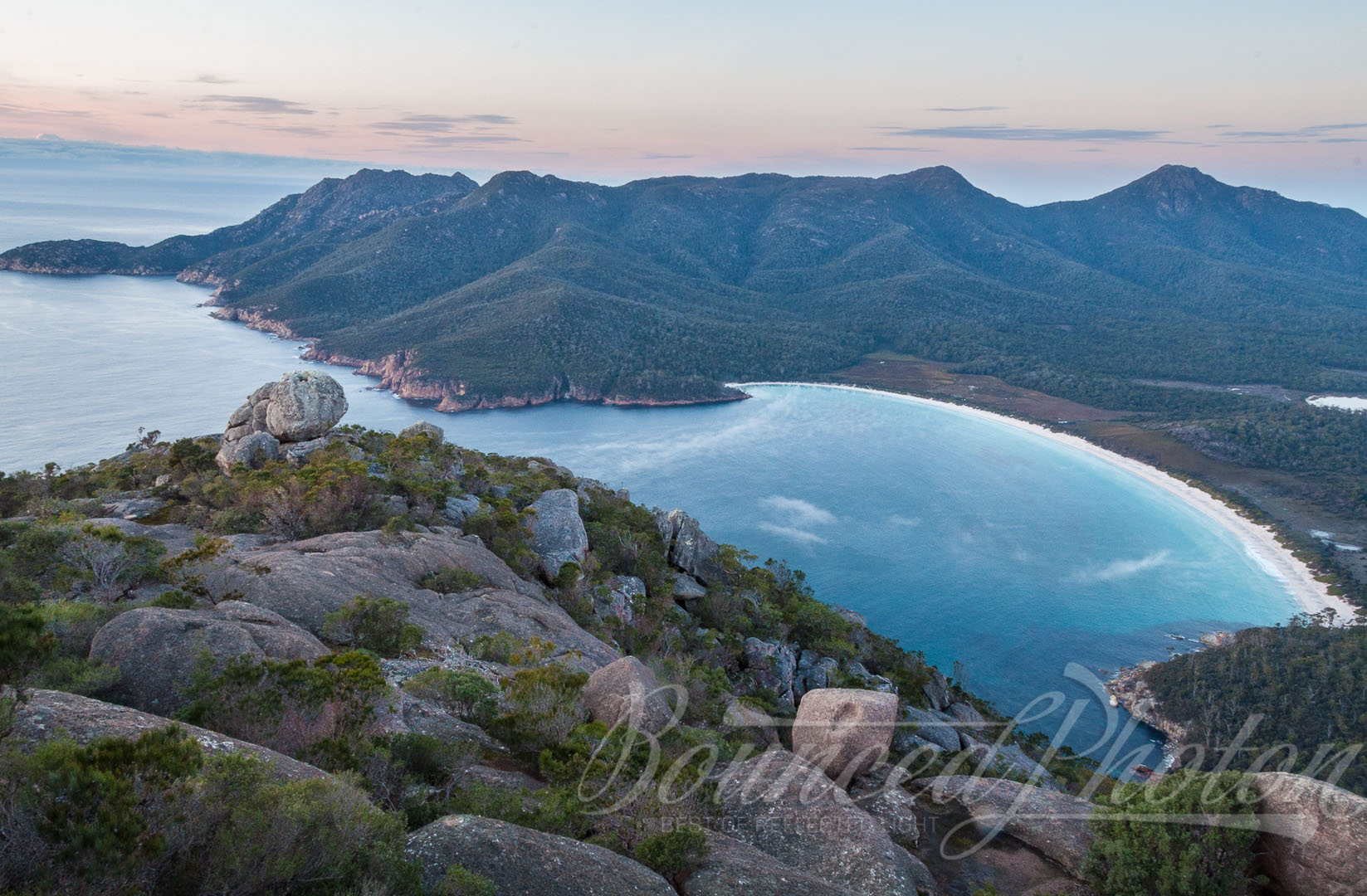 Sunrise views from the top of Mount Amos over the Wineglass Bay